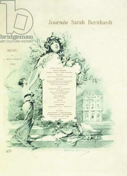 Menu for Sarah Bernhardt Day, 9th December 1896 (colour litho)