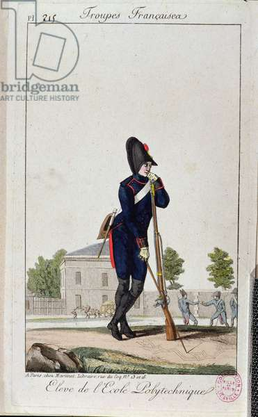 Pupil from the Polytechnique, from 'Troupes Francaises' c.1805 (coloured engraving)