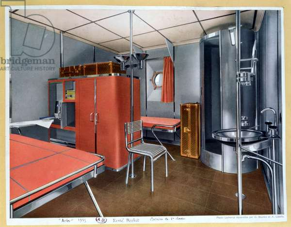 Interior of a first class cabin on a liner, from 'Acier' magazine, July 1935 (colour litho)