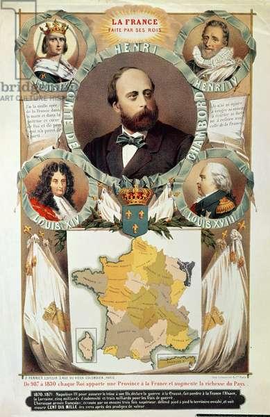 'La France Faite par ses rois', Henri Charles Ferdinand Marie Dieudonne (1820-83) Comte de Chambord, after 1870 (colour litho)