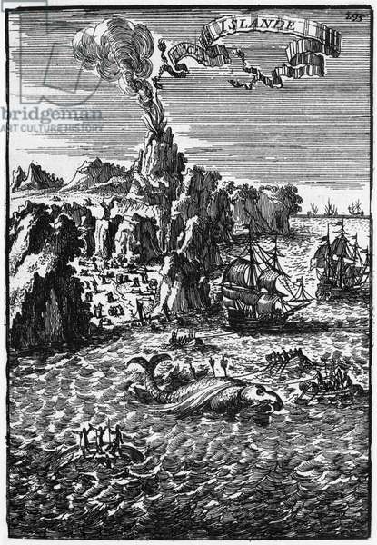 Iceland and whale fishing, illustration from 'Description de l'Univers' by Allain Manesson Mallet (1630-1706) published Paris, 1683 (engraving) (b/w photo)