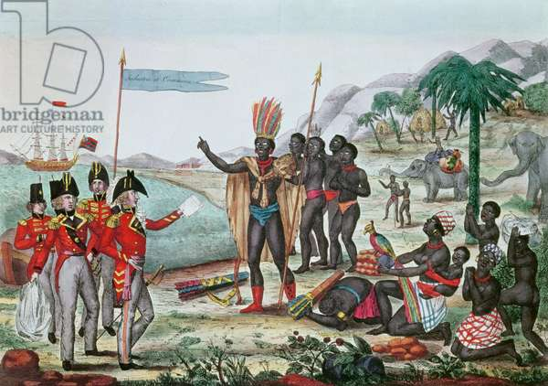The English informing the Africans about the Treaty of Paris and the abolition of slavery, after 1815 (coloured engraving)