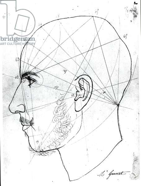 Phrenological study, from a manuscript of Doctor Philippe Jean Pelletan (1747-1829) library (pen and ink on paper) (b/w photo)