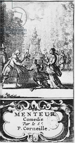 Frontispiece of 'Le Menteur' by Pierre Corneille (1606-84) published in 1664, Amsterdam (engraving) (b/w photo)