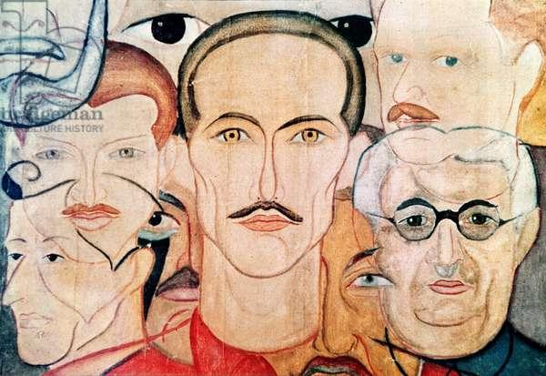 Self Portrait in Prison, c.1940-50 (colour litho)