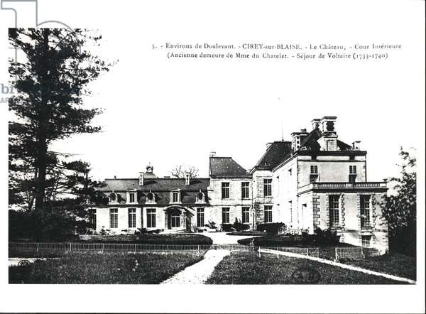 Postcard depicting the Chateau of Cirey-sur-Blaise, formerly residence of Madame du Chatelet (1706-49) and sojourn of Voltaire (1694-1778) between 1733-40, before 1914 (b/w photo)