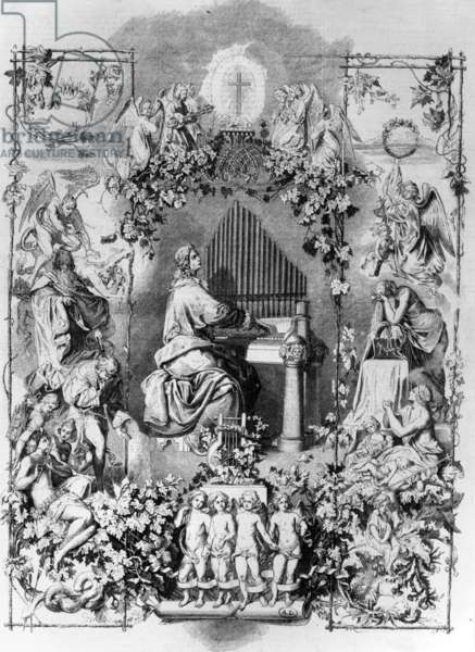 Apotheosis of Mozart, engraved by Carl Joseph Geiger, 1857 (engraving)