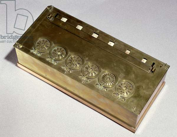 Calculating machine invented by Blaise Pascal (1623-62) in 1642 (wood & metal)