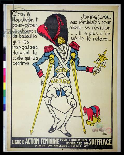 Poster demanding the repeal of the Napoleonic Code by the 'Ligue d'Action Feminine', 1926 (colour litho)