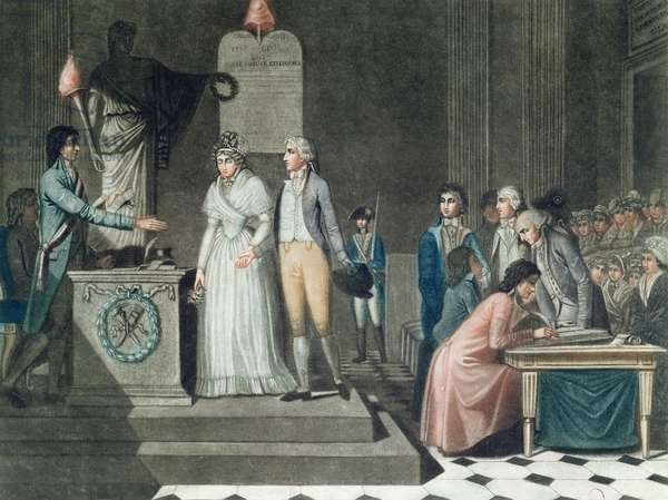 The Republican Marriage, engraved by Le Grand (coloured engraving)