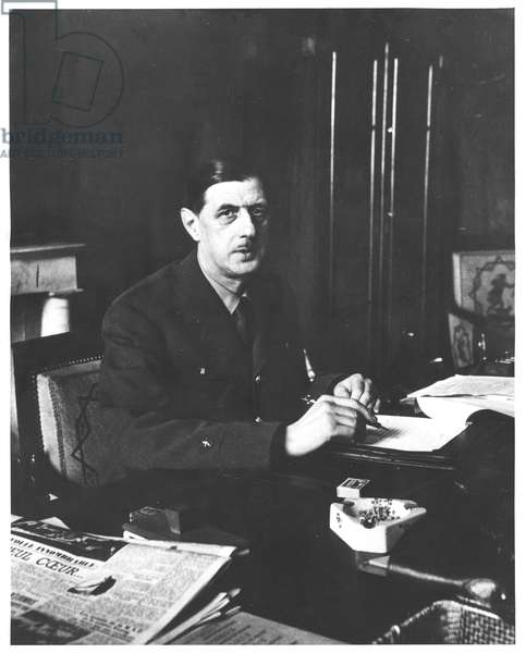 General Charles de Gaulle (1890-1970) Head of the Provisional Government in Paris, 11th November 1944 (b/w photo)