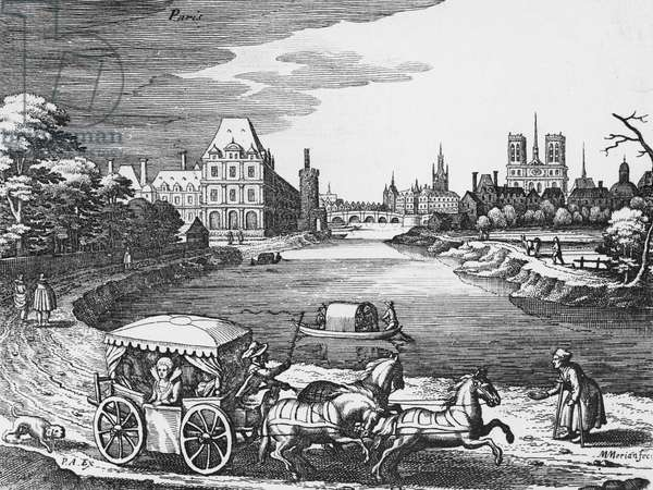 View of the Louvre and the Tuileries with a stage coach in the foreground (engraving) (b/w photo)