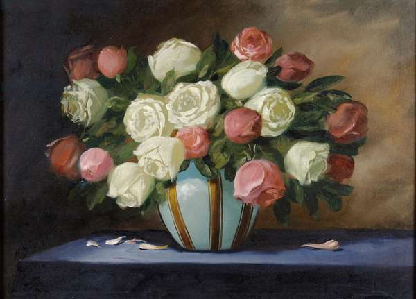 Pink and White Roses in a Blue Vase (oil on canvas)