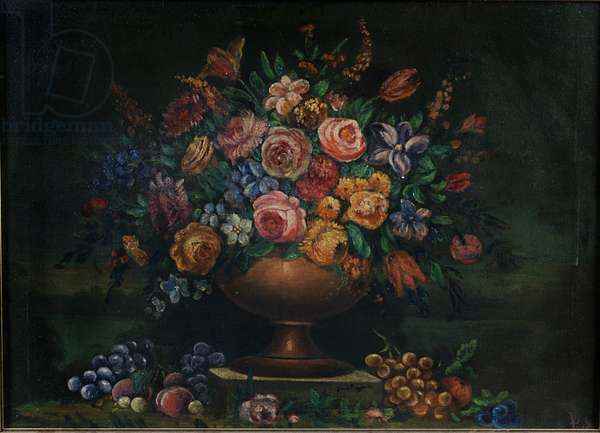 Vase with Flowers (oil on canvas)