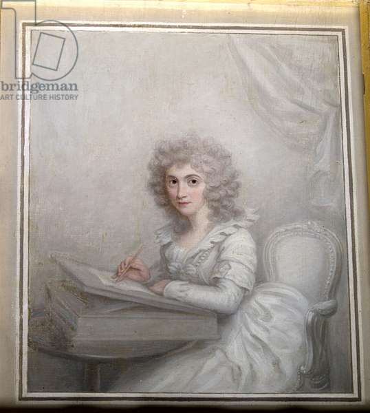 A Lady, seated at a table writing a letter (oil on canvas)