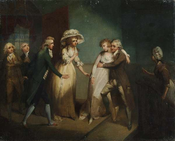 Camilla fainting in the arms of her father, illustration of a scene from 'Camilla', or 'A Picture of Youth', published in 1796 (oil on canvas)