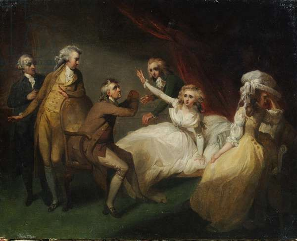 Camilla recovering from her swoon, illustration of a scene from 'Camilla', or 'A Picture of Youth', published in 1796 (oil on canvas)