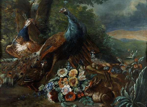 Landscape with Peacock and Game (oil on canvas)