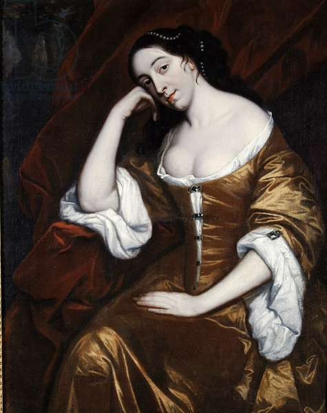 Portrait of a Lady, wearing a gold dress with red robes (oil on canvas)