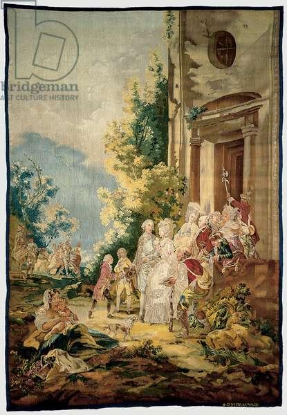 The Four Ages: The Marriage of Antoinette de Bertier de Sauvigny to the Marquis de la Bourdonnaye, Manufacture Royale de Beauvais, 1778-80 (linen, wool & silk)