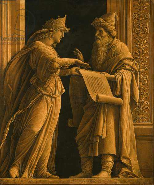 A sibyl and a prophet, c.1495 (distemper & gold on canvas)
