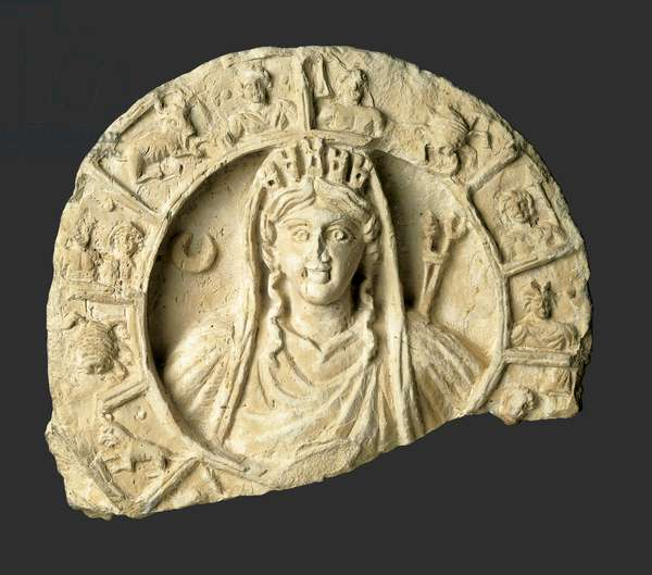 Roundel with bust of Atargatis-Tyche and zodiac from Jordan, late 1st century (limestone)