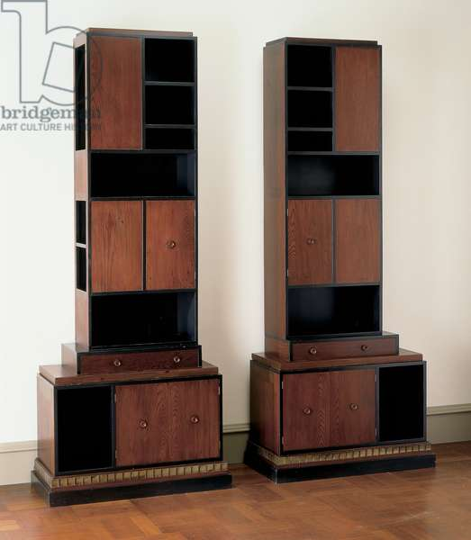 Pair of Skyscraper Bookcases, 1920s (California redwood with nickel-plated steel)
