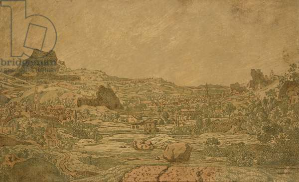 Town with Four Towers, c.1631 (etching, printed on prepared green paper with added pink washes)