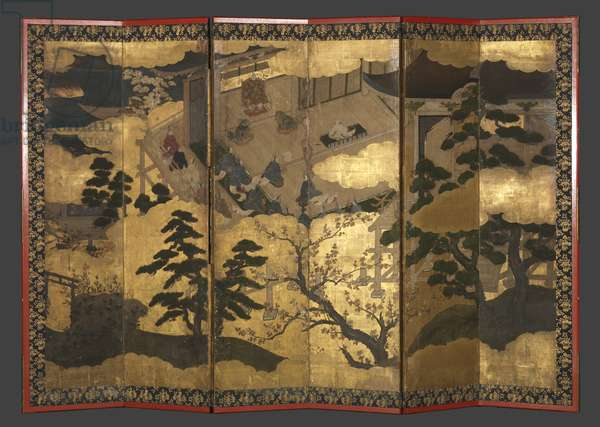 Sixfold screen: Presentation of a Prince, Muromachi period (ink, colour & gold on paper)