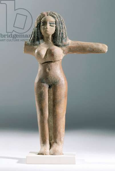 Female figure, Abydos, Egypt, 1550-1400 BC (slip-coated and burnished earthenware with black painted decoration)