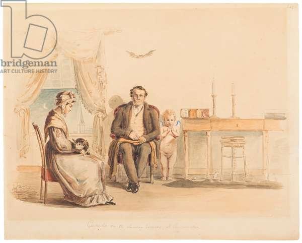 Cupid on a Sunday Evening, at Cincinnati, 1830 (pen & black ink over pencil on paper)