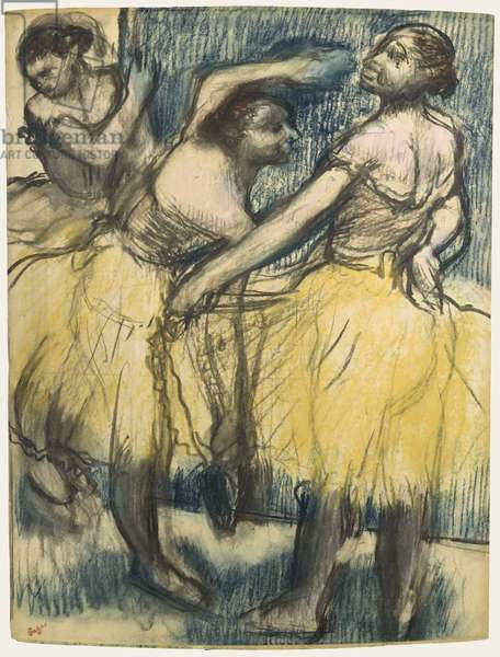 Three dancers in yellow skirts (charcoal & chalk on paper)