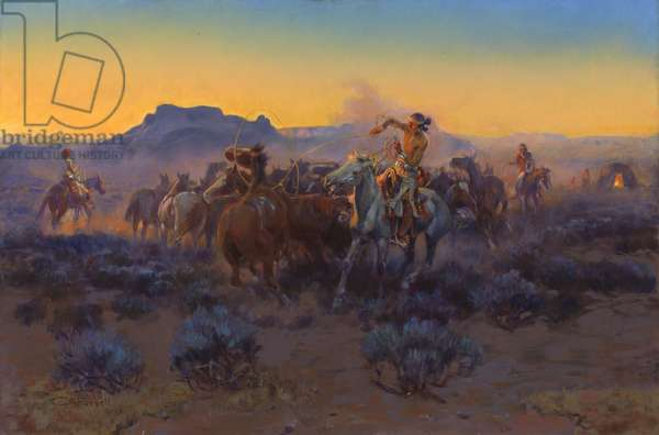 Roping Fresh Mounts, 1918 (oil on canvas)