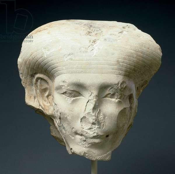 Head of a god, Middle Kingdom, late 12th dynasty, c.1850-00 BC (limestone)