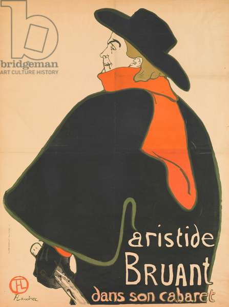 Aristide Bruant in his Cabaret, 1893 (colour litho)