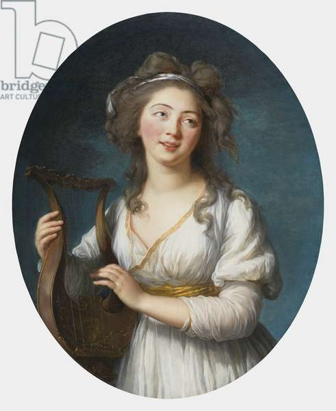 Portrait of a Young Woman Playing a Lyre, c.1780 (oil on canvas)