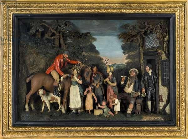 Scene Before an Inn (Huntsman and Villagers), c.1800 (modelled wax)