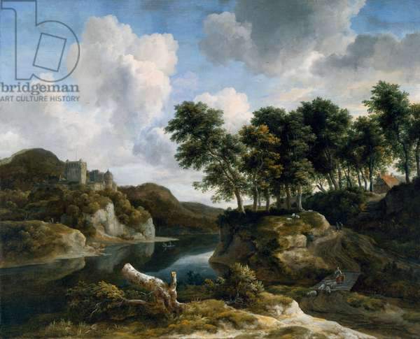 River landscape with a castle on a high cliff, 1670s (oil on canvas)