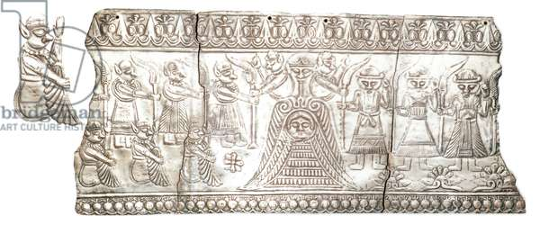 Applique plaque, Luristan/Iran, 10th - 7th Century BC (silver, hammered, with repousse decoration)