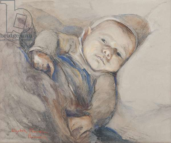 French War Orphan in Penmarch, Brittany (w/c & black chalk on paper)