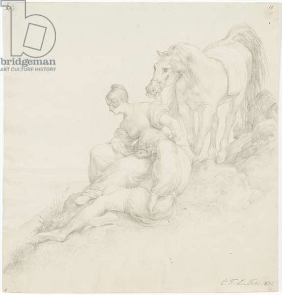 Walter and Hildegunde Resting on the Flight, 1831 (brush & blue wash and pencil on paper)