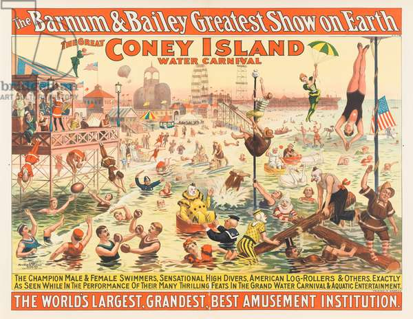 The Barnum & Bailey Greatest Show on Earth - The Great Coney Island Water Carnival, c.1898 (chromolitho)