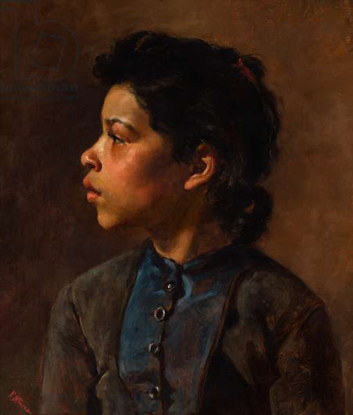 Head of a Girl, c.1882 (oil on canvas, mounted on academy board)