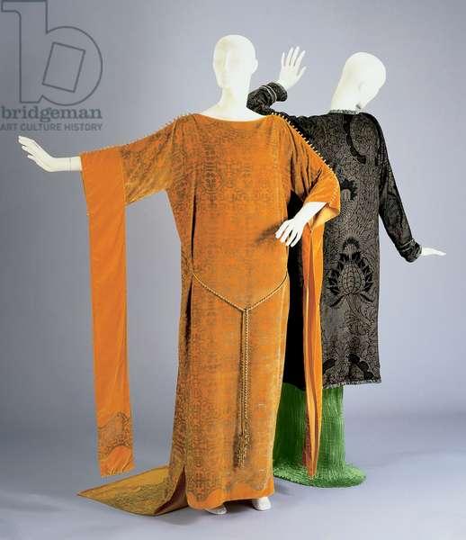 Dress and sash and evening coat (mixed media)