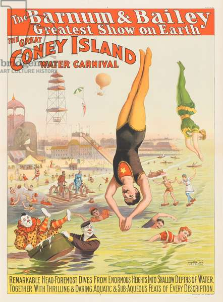 The Barnum & Bailey Greatest Show on Earth - The Great Coney Island Water Carnival, 1898 (chromolitho)