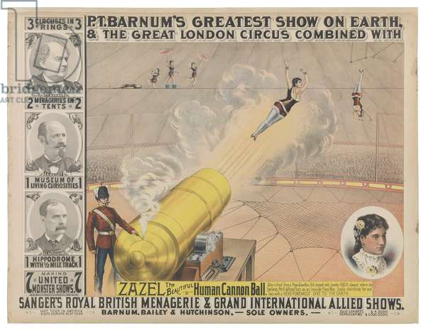Zazel, The Beautiful Human Cannon Ball,  Barnum & Bailey Greatest Show on Earth & The Great London Circus, 1882 (colour litho)