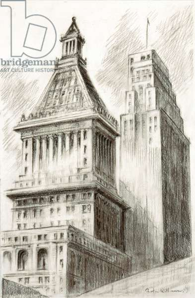 Central Trust and Carew Towers, 1941 (black crayon on paper)