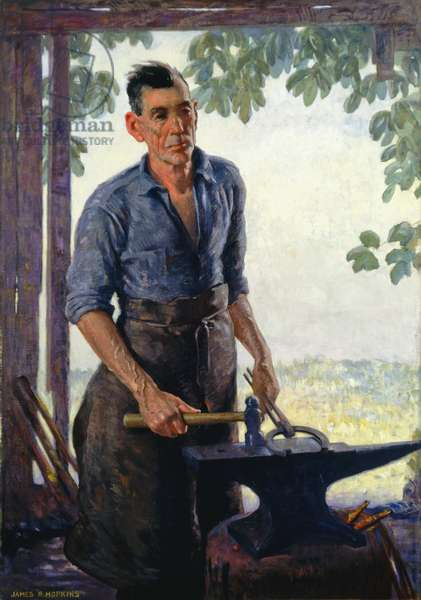 The Smithy, 1915-17 (oil on canvas)