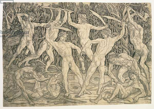 Battle of the Nudes, c.1489 (engraving)