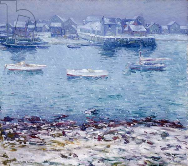 Harbor in Winter (oil on canvas)